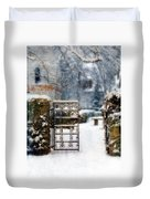 Decorative Iron Gate In Winter Duvet Cover