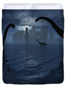 Dinosaurs Feed Near The Shores Duvet Cover