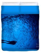 Diver And A Large School Of Bigeye Duvet Cover