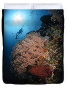 Diver Over Soft Coral Seascape Duvet Cover