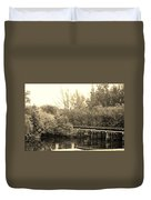 Dock On The River In Sepia Duvet Cover