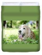 Dog On The Green Grass Duvet Cover