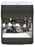 Dogs Lying Under A Train Wagon Duvet Cover