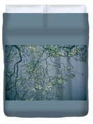 Dogwood Blossoms In A Foggy Forest Duvet Cover