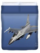 Dutch F-16am During A Combat Air Patrol Duvet Cover