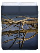 Fallen Tree Trunk With Reflections On The Muskegon River Duvet Cover