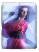 Fashion Photo Of A Woman In Shining Blue Settings Duvet Cover