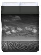 Field Furrows And Clouds In South East Texas Duvet Cover