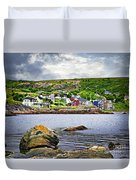 Fishing Village In Newfoundland Duvet Cover by Elena Elisseeva
