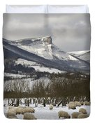 Flock Of Sheep In The Snow Duvet Cover