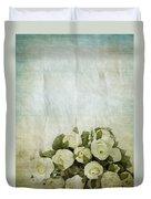 Floral Pattern On Old Paper Duvet Cover