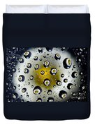 Flowers In Water Drops Duvet Cover