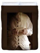 Gentleman In Vintage Clothing Reading A Letter Duvet Cover
