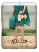 Girl In The Dunes Duvet Cover