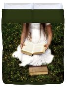 Girl Is Reading A Book Duvet Cover