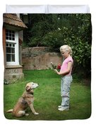 Girl Playing With Dog Duvet Cover by Mark Taylor