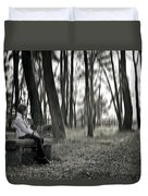 Girl Sitting On A Wooden Bench In The Forest Against The Light Duvet Cover by Joana Kruse