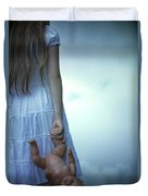 Girl With Baby Doll Duvet Cover by Joana Kruse