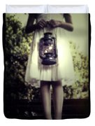 Girl With Oil Lamp Duvet Cover by Joana Kruse