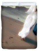 Girl With Suitcase Duvet Cover by Joana Kruse
