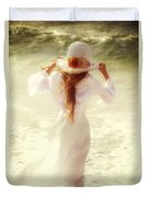 Girl With Sun Hat Duvet Cover by Joana Kruse