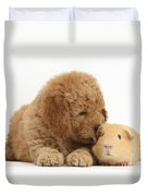 Goldendoodle Puppy And Guinea Pig Duvet Cover