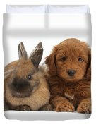 Goldendoodle Puppy And Rabbit Duvet Cover