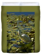Great White Egret Perched On A Rock Duvet Cover