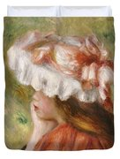 Head Of A Young Girl In A Red Hat  Duvet Cover