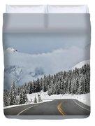 Highway 40 In Winter, Highwood Pass Duvet Cover