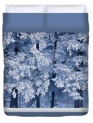 Hoarfrost On Trees In Winter, Birds Duvet Cover
