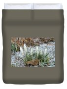 Ice-coated Crocuses Duvet Cover