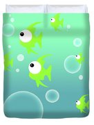 Illustration Of Fish And Bubbles Duvet Cover