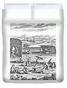 Iroquois Village, 1664 Duvet Cover
