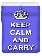 Keep Calm And Carry On Poster Print Blue Background Duvet Cover