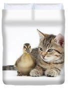 Kitten And Duckling Duvet Cover