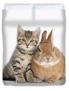 Kitten And Netherland Dwarf-cross Rabbit Duvet Cover