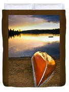 Lake Sunset With Canoe On Beach Duvet Cover by Elena Elisseeva