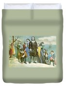Landing Of The Pilgrims At Plymouth Duvet Cover