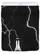 Lightning Strikes Empire State Duvet Cover by Science Source