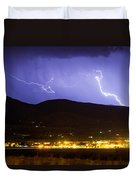Lightning Striking Over Ibm Boulder Co 2 Duvet Cover