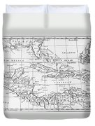 Map Of The West Indies Florida And South America Duvet Cover