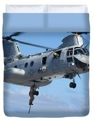 Marines Fast Rope From A Ch-46 Sea Duvet Cover