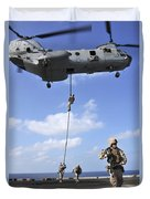 Marines Fast Rope From A Ch-46e Sea Duvet Cover