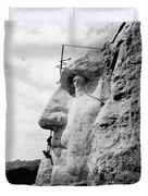 Men Working On Mt. Rushmore Duvet Cover