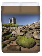 Minard Castle And Rocky Beach Minard Duvet Cover