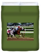Neck And Neck At Saratoga One Duvet Cover