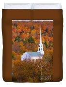 New England Church In Autumn Duvet Cover