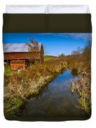 New England Farm In Autumn Scenery Duvet Cover