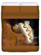 Nudibranch On Orange Sponge, Kimbe Bay Duvet Cover